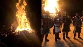 Fire festival: People dressed as Vikings marched through the streets.