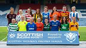Players line up for the Scottish Women's Premier League.