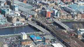 An aerial view of the bridge.
