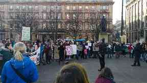 Protest: School pupils make their voices heard in George Square.