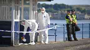 Investigation: Forensic teams scoured the shore.