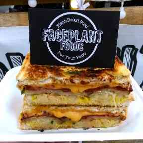 Vegan grilled cheese from Faceplant Foods is on the menu at Colab.
