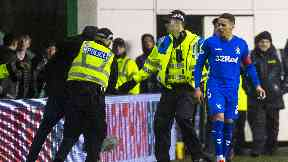 Incident: Tavernier is confronted by the pitch invader.