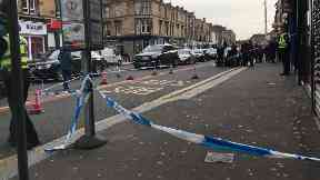 Scene: Kilmarnock Road was taped off after the alleged stabbing.