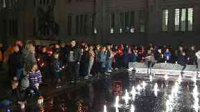 Tribute: Friends gathered outside Marischal College.