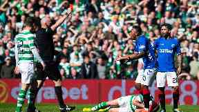 Morelos was shown red by referee Bobby Madden.