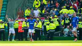 Scott Brown celebrated in front of Rangers fans.