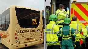 Bus: A pensioner is fighting for her life.