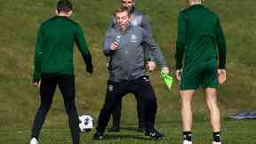 Neil Lennon was putting his players through their paces this morning.