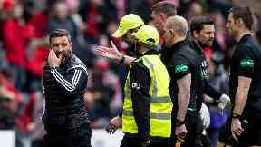 Derek McInnes: The Aberdeen manager was sent to the stands.