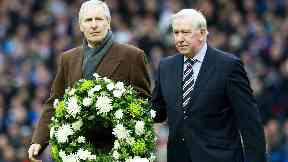 Bily McNeill and John Greig pay their respects at an Ibrox Disaster memorial in 2011.