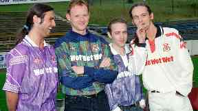 Tommy (second left) and the band sponsored Clydebank FC in the 90s.