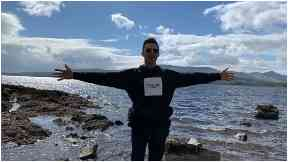Loch Lomond: Hugh enjoyed a boat trip on Sunday afternoon.