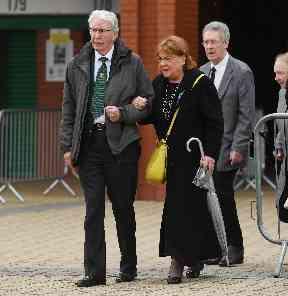 Lisbon Lion: Jim Craig arriving at funeral.