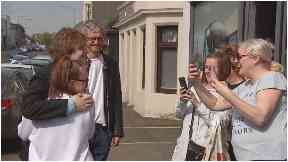 Superstar: Capaldi stopped to chat to fans in Whitburn.