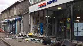 Damage: The van smashed into the Tesco store