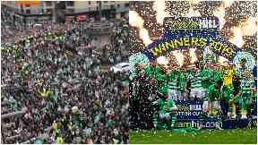 Celtic's bus parade halted as fans flood streets of Glasgow