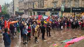 Glasgow: Protest held on Buchanan Street.