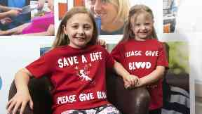 Lifesaving: Ruby (left) with sister Millie, has had numerous transfusions.