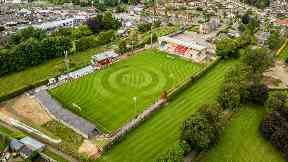 Glebe Park: Aerial view of the new pitch.