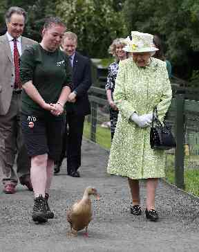 The Queen was joined by Olive the duck for a walk around the farm.