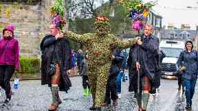 The Burryman: The parade started on Friday morning.