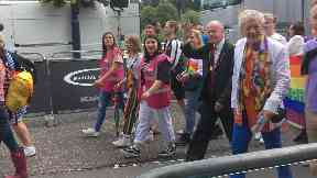 Superstar: Sir Ian McKellen led the Perthshire Pride parade.