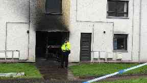 Forfar: The block of flats has been cordoned off.