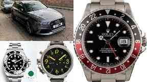 Theft: Nine watches and two cars were taken.