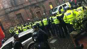 Riot: Officers were called to a large-scale disturbance in Govan.