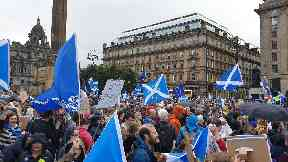Glasgow: Protesters packed George Square.