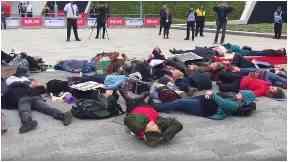 'Die-in': Protesters in Aberdeen.