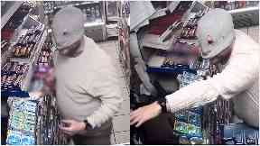 CCTV: Masked man targeted Glasgow shop.