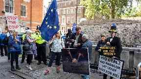 Brexit: Pro-EU demonstrators around Westminster.