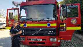 Donation: The group of four drove to Albania to hand over the fire engine.