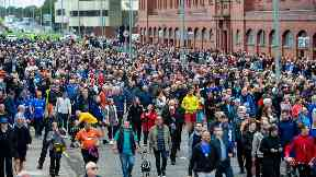 Glasgow: Thousands of fans flocked to Ibrox to pay tribute.