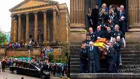 Service: Mourners exited the church to Simply the Best.