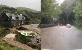 Flooding: Heavy rain in Aberdeenshire.