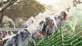 Foam fight: The ritual dates back centuries.