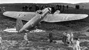 War: The German plane shot down by Mr McKellar.