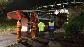 Smash: The Stagecoach bus collided with a railway bridge.