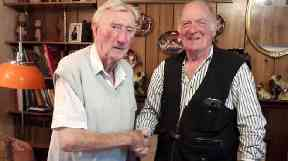 Reunited: Jimmy meets son of former WWII comrade.