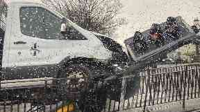 Collision: A pick-up truck ploughed into a set of traffic of lights.