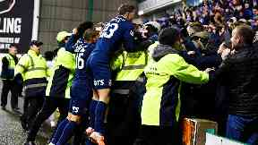 Wild celebrations after Kilmarnock hit their late leveller.