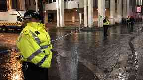 Locked down: Police set up a cordon around Aberdeen Town House.
