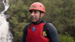 Blind daredevil first to abseil UK's tallest waterfall