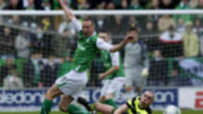 Back Home: Dutchman Edwin De Graaf has struggled to hold down a starting place at Hibernian this term.