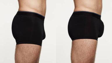 Before and after: a normal pair of boxers (left), compared with the M&S range