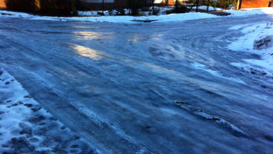 Ice warning: Road surface in Perth.