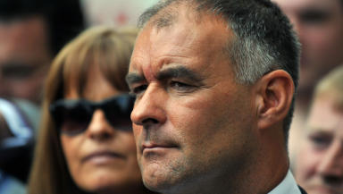 Nominated: Could Tommy Sheridan, pictured with his wife Gail, be named Scot of the Year?